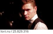 Купить «Fashion model man portrait with trendy lighting», видеоролик № 25829316, снято 10 марта 2017 г. (c) Илья Насакин / Фотобанк Лори