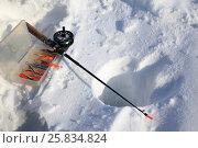 Купить «Зимняя рыбалка, лунка, удочка и щучьи балансиры», фото № 25834824, снято 26 марта 2017 г. (c) Evgenii Mitroshin / Фотобанк Лори