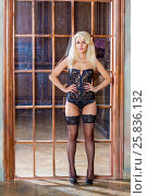 Купить «Young blonde woman in black lingerie, stockings and high-heel shoes stands akimbo her back to lattice door in room with ragged walls», фото № 25836132, снято 17 сентября 2015 г. (c) Losevsky Pavel / Фотобанк Лори
