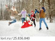 Купить «Happy family of four jumps holding hands around stuffed dummy Maslenitsa in winter park», фото № 25836840, снято 25 января 2015 г. (c) Losevsky Pavel / Фотобанк Лори