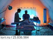 Купить «MOSCOW - APR 28, 2015: Medical worker and injured with a bandaged hand in the chamber module in a field hospital», фото № 25836984, снято 28 апреля 2015 г. (c) Losevsky Pavel / Фотобанк Лори