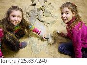 Купить «Two girls dig together in dry sand bones of dinosaur in sand», фото № 25837240, снято 30 января 2015 г. (c) Losevsky Pavel / Фотобанк Лори