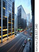 Купить «NEW YORK, USA - SEP 07, 2014: Crossroads of Wall Street and Water Street near office building in New York», фото № 25837340, снято 7 сентября 2014 г. (c) Losevsky Pavel / Фотобанк Лори