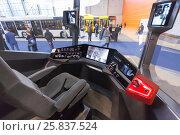 Купить «MOSCOW - OCT 30, 2014: In tram cabin at exhibition city transport ExpoCityTrans 2014», фото № 25837524, снято 30 октября 2014 г. (c) Losevsky Pavel / Фотобанк Лори
