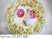 Купить «Plate with pasta, salami, chicken stick on table», фото № 25837688, снято 10 мая 2016 г. (c) Losevsky Pavel / Фотобанк Лори