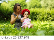 Купить «Little girl in flower wreath and her mother hold milk and thumb up in summer park», фото № 25837948, снято 24 июня 2015 г. (c) Losevsky Pavel / Фотобанк Лори