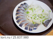 Купить «Salty herring cut into slices and covered with onion rings on plate», фото № 25837980, снято 23 марта 2016 г. (c) Losevsky Pavel / Фотобанк Лори