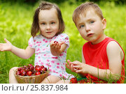 Купить «Little boy and girl sit on grass and eat strawberries, cherry in park, focus on boy», фото № 25837984, снято 24 июня 2015 г. (c) Losevsky Pavel / Фотобанк Лори