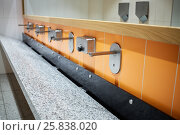 Large washbasin with several faucets and mirror above. Стоковое фото, фотограф Losevsky Pavel / Фотобанк Лори