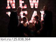 Купить «Four happy friends drink white wine near illuminated letters (New Year) in dark studio», фото № 25838364, снято 24 декабря 2014 г. (c) Losevsky Pavel / Фотобанк Лори