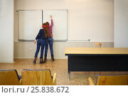 Купить «Schoolgirls write on blackboard geometry example in classroom, back view, focus on text», фото № 25838672, снято 7 апреля 2016 г. (c) Losevsky Pavel / Фотобанк Лори
