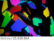 Купить «Abstraction, different colored geometrical figures on a black background», фото № 25838864, снято 6 июля 2014 г. (c) Losevsky Pavel / Фотобанк Лори