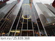 Купить «NEW YORK - August 23, 2014: window reflections on Skyscrapers at 6th ave», фото № 25839368, снято 23 августа 2014 г. (c) Losevsky Pavel / Фотобанк Лори