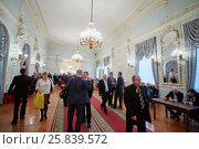 Купить «MOSCOW, RUSSIA - APR 23, 2016: Guests and members of A Just Russia political party after meeting at 8th congress in Union House hall», фото № 25839572, снято 23 апреля 2016 г. (c) Losevsky Pavel / Фотобанк Лори