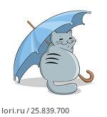Cat under an umbrella. Стоковая иллюстрация, иллюстратор Елена Беззубцева / Фотобанк Лори