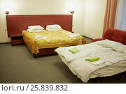 Купить «Interior of modern room with two double-bed in hotel», фото № 25839832, снято 29 мая 2015 г. (c) Losevsky Pavel / Фотобанк Лори
