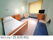 Купить «RUSSIA, MOSCOW - AUG 31, 2015: comfortable hospital ward with semi-double bed, television set and conditioner in multidisciplinary Clinic Center Endosurgery and Lithotripsy (CELT)», фото № 25839952, снято 31 августа 2015 г. (c) Losevsky Pavel / Фотобанк Лори