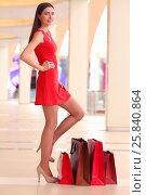 Купить «Beautiful happy girl in dress stands near four bags in shopping center», фото № 25840864, снято 21 апреля 2015 г. (c) Losevsky Pavel / Фотобанк Лори