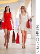 Купить «Two beautiful women in short dresses go with bags in shopping center», фото № 25840896, снято 21 апреля 2015 г. (c) Losevsky Pavel / Фотобанк Лори