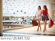 Купить «Two beautiful girls with purchases stand near railing and go away in modern mall», фото № 25841132, снято 21 апреля 2015 г. (c) Losevsky Pavel / Фотобанк Лори