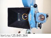 Купить «PERESLAVL-ZALESSKIY, RUSSIA - JUL 18, 2015: Old video camera in a museum, focus on the lens», фото № 25841364, снято 18 июля 2015 г. (c) Losevsky Pavel / Фотобанк Лори