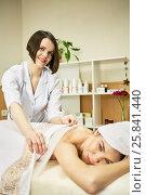 Купить «Beautician covers body of woman on procedure in beauty salon», фото № 25841440, снято 1 марта 2015 г. (c) Losevsky Pavel / Фотобанк Лори