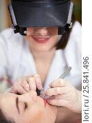 Купить «Beautician in magnifying lenses does epilation on upper lip of woman lying on couch in beauty salon», фото № 25841496, снято 1 марта 2015 г. (c) Losevsky Pavel / Фотобанк Лори