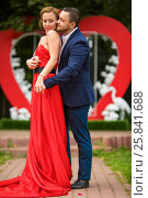 Купить «Happy couple embracing look at each other in front of big red heart in park», фото № 25841688, снято 19 июля 2015 г. (c) Losevsky Pavel / Фотобанк Лори