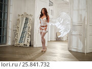 Купить «Young woman in white underwear, stockings and angel wings behind her back in room against doorway», фото № 25841732, снято 10 июня 2016 г. (c) Losevsky Pavel / Фотобанк Лори