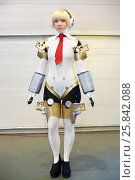MOSCOW - OCT 12, 2014: Cosplay Aigis from Persona in the fantasy in a white suit at the EveryCon 2014 in the exhibition center Sokolniki. Редакционное фото, фотограф Losevsky Pavel / Фотобанк Лори