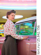 Купить «Beautiful girl in blouse with red lips near the pink car at bar», фото № 25842156, снято 18 января 2015 г. (c) Losevsky Pavel / Фотобанк Лори