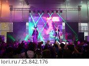 Купить «MOSCOW - OCT 12, 2014: Performances of participants EveryCon 2014 on the stage in the exhibition center Sokolniki», фото № 25842176, снято 12 октября 2014 г. (c) Losevsky Pavel / Фотобанк Лори