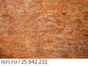 Купить «Texture of stained old dark brown and red brick wall background, grungy rusty blocks», фото № 25842232, снято 9 февраля 2016 г. (c) Losevsky Pavel / Фотобанк Лори
