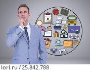 Купить «Businessman thinking with creative business graphic drawings», фото № 25842788, снято 18 февраля 2020 г. (c) Wavebreak Media / Фотобанк Лори