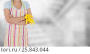 Купить «Woman in apron arms folded against blurry grey background», фото № 25843044, снято 15 февраля 2019 г. (c) Wavebreak Media / Фотобанк Лори
