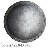 Купить «Metal medieval round shield isolated on white 3d illustration», иллюстрация № 25843840 (c) Андрей Кузьмин / Фотобанк Лори