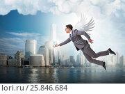 Купить «Angel investor concept with businessman with wings», фото № 25846684, снято 20 августа 2018 г. (c) Elnur / Фотобанк Лори
