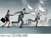 Купить «Businesspeople chasing angel investor funding», фото № 25846688, снято 22 ноября 2018 г. (c) Elnur / Фотобанк Лори