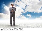 Купить «Angel investor concept with businessman with wings», фото № 25846712, снято 17 августа 2018 г. (c) Elnur / Фотобанк Лори
