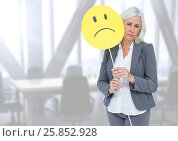 Купить «Sad businesswoman against bright office», фото № 25852928, снято 19 февраля 2020 г. (c) Wavebreak Media / Фотобанк Лори
