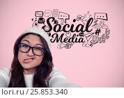 Woman with funny face and social media graphics drawings. Стоковое фото, агентство Wavebreak Media / Фотобанк Лори