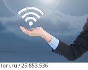 Купить «Open palm business hand in sky with wi-fi icon», фото № 25853536, снято 18 марта 2019 г. (c) Wavebreak Media / Фотобанк Лори