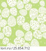 Пасхальные яйца на зеленом фоне. Стоковая иллюстрация, иллюстратор Елена Беззубцева / Фотобанк Лори