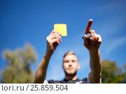 Купить «referee on football field showing yellow card», фото № 25859504, снято 18 сентября 2016 г. (c) Syda Productions / Фотобанк Лори