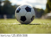 Купить «soccer ball on football field», фото № 25859508, снято 18 сентября 2016 г. (c) Syda Productions / Фотобанк Лори