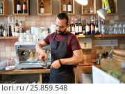 barista with holder and tamper making at coffee, фото № 25859548, снято 8 декабря 2016 г. (c) Syda Productions / Фотобанк Лори