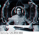 man in headset with computer virtual projections, фото № 25859980, снято 12 марта 2016 г. (c) Syda Productions / Фотобанк Лори