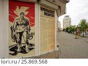 Купить «9th of May Victory Day posters and adverts on Sverdlova Street in Yekerterinburg», фото № 25869568, снято 20 марта 2019 г. (c) age Fotostock / Фотобанк Лори