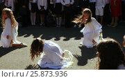 Купить «School class on line with dance», видеоролик № 25873936, снято 1 сентября 2016 г. (c) Потийко Сергей / Фотобанк Лори