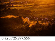 Купить «Dawn mist over the forest and village, Russia», фото № 25877556, снято 20 июля 2018 г. (c) Ирина Мойсеева / Фотобанк Лори